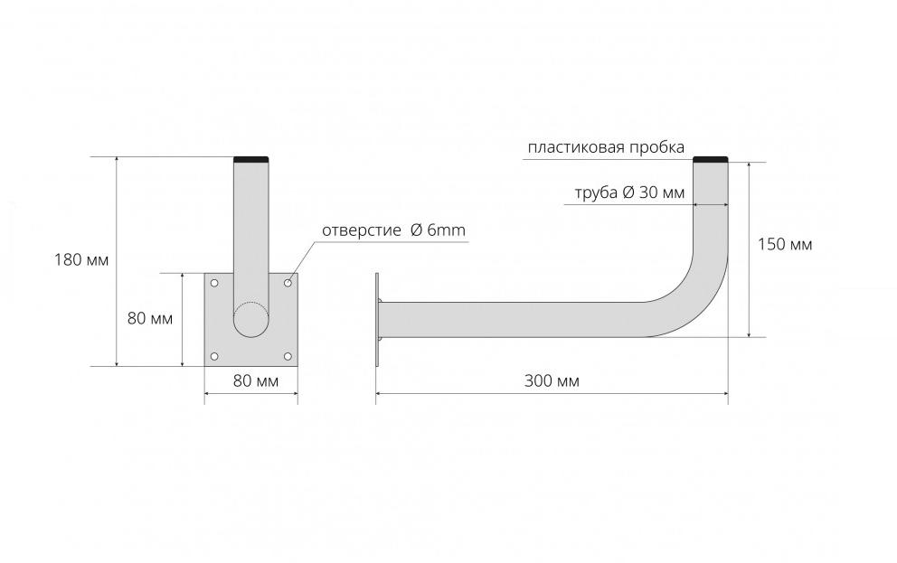 Схема крепления кронштейна стенового для антенны